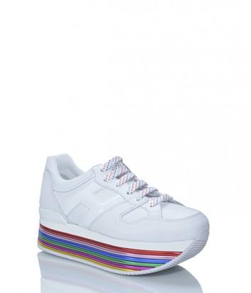 Белые кожаные кроссовки HOGAN на высокой цветной танкетке