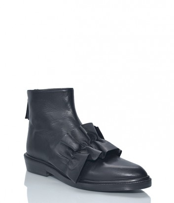 Кожаные ботинки MSGM декорированные воланами черные
