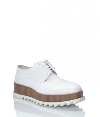 Кожаные туфли-броги Jil Sander на танкетке белые