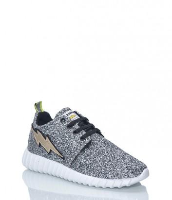 Кожаные кроссовки Leo Studio Design с глиттерным покрытием серебряные