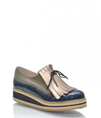 Лаковые туфли Leo Studio Design комбинированные синие с золотым
