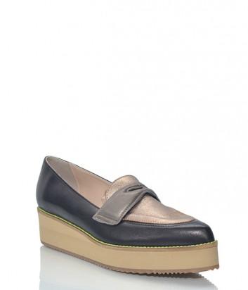 Кожаные туфли-лоферы Leo Studio Design на танкетке черно-золотые