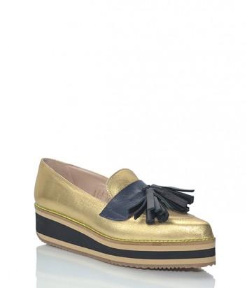Кожаные туфли-лоферы Leo Studio Design золотые с кисточками на носочке