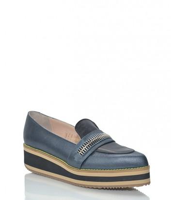 Кожаные туфли-лоферы Leo Studio Design синие с черными вставками