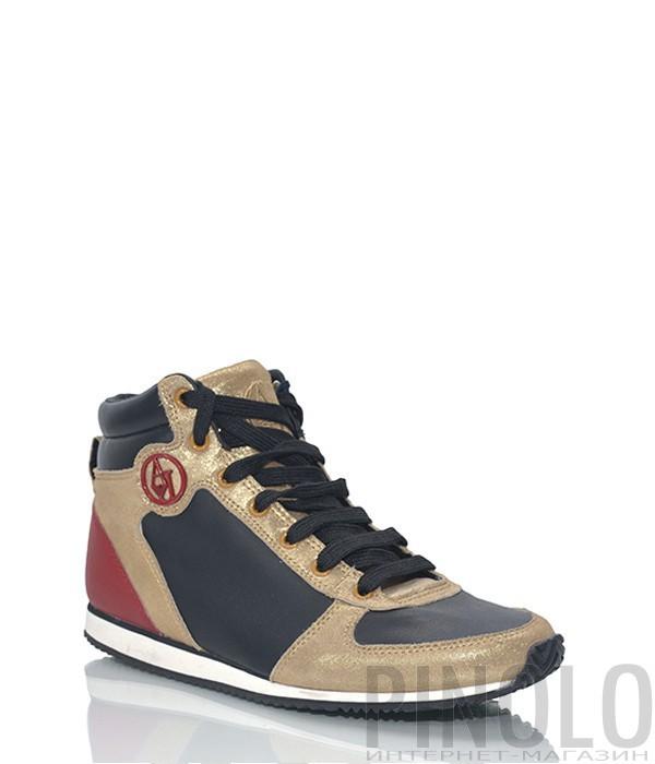Кожаные женские кроссовки Armani Jeans комбинированные черно-золотые ... f299c369520