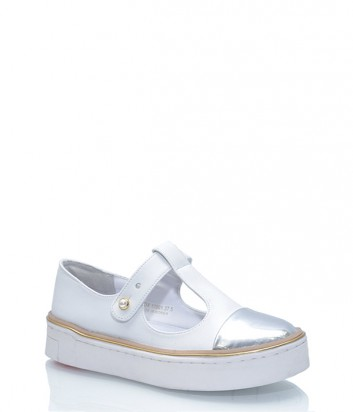 Белые кожаные слипоны Suecomma Bonnie с серебристым носочком