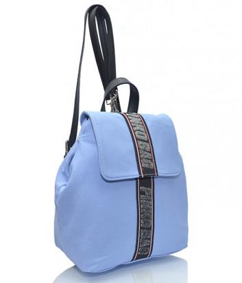 Женский рюкзак Pinko Abramide голубой с черной брендированной тесьмой