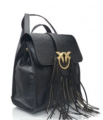 Женский рюкзак Pinko с фирменным тиснением и бахромой черный