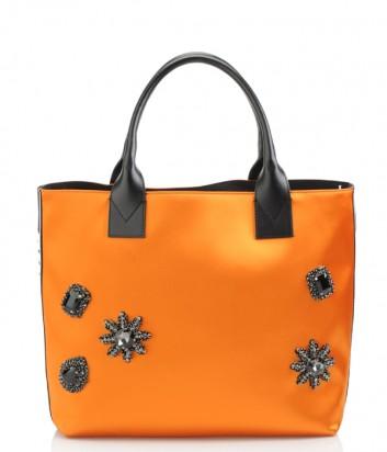 Яркая сумка шоппер Pinko оранжевая с черными кристаллами