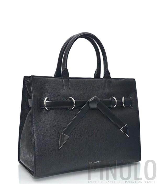 83020860d412 Каркасная сумка Karl Lagerfeld Rocky Bow из мягкой кожи черная ...