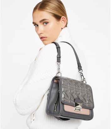 Стеганная кожаная сумка Karl Lagerfeld Kuilted серебристо-розовая