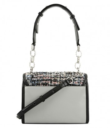 Кожаная сумка Karl Lagerfeld Kuilted с твидовыми вставками серая