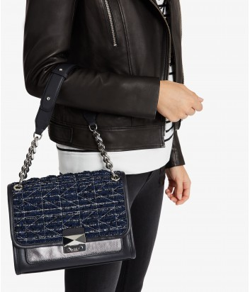 Кожаная сумка Karl Lagerfeld Kuilted с твидовыми вставками синяя