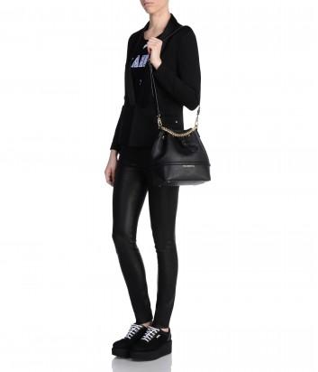 Сумка-мешок Karl Lagerfeld Klassik из сафьяновой кожи черная