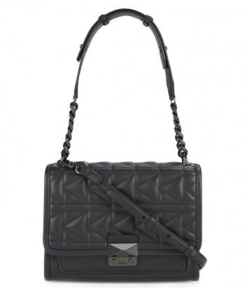 Стеганная кожаная сумка Karl Lagerfeld Kuilted черная