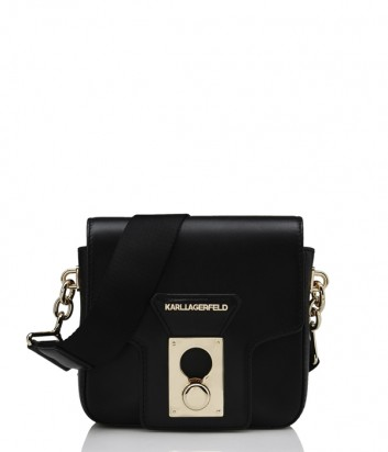 Кожаная сумка Karl Lagerfeld Pin Closure с текстильным плечевым ремнем черная