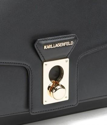 Кожаная сумка Karl Lagerfeld Pin Closure с внешним карманом черная