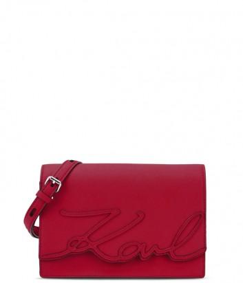 Сумка через плечо Karl Lagerfeld Signature из кожи сафьяно красная