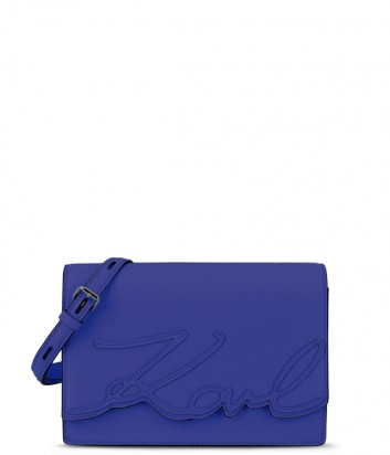 Сумка через плечо Karl Lagerfeld Signature из кожи сафьяно синяя