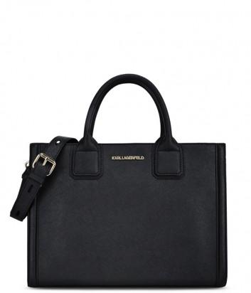Каркасная сумка Karl Lagerfeld Klassik из сафьяновой кожи черная