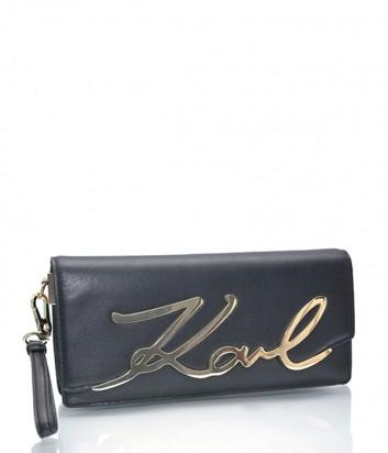 Кожаный клатч Karl Lagerfeld Signature на кнопке черный
