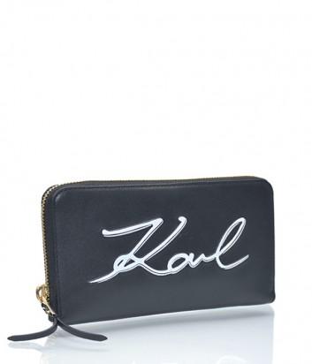 Кожаное портмоне Karl Lagerfeld Signature на молнии черное