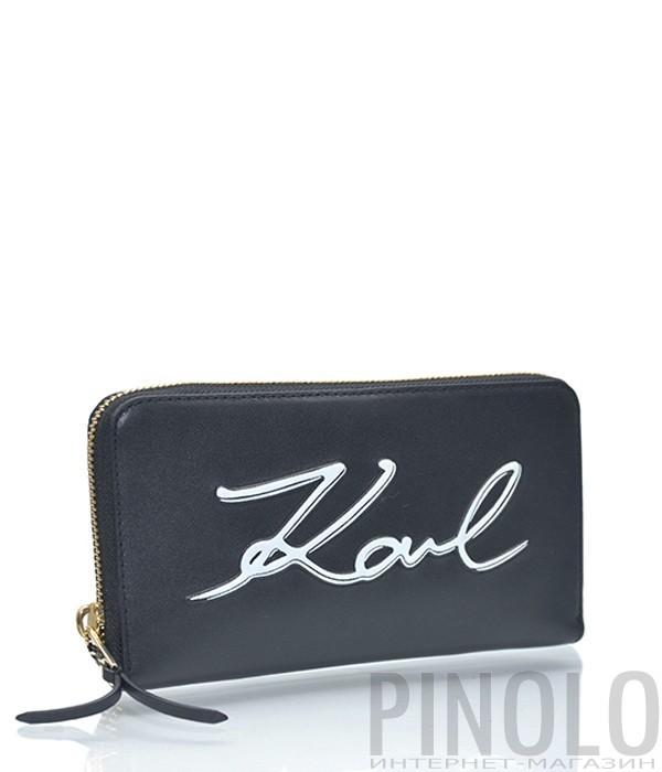 8ed405217222 Кожаное портмоне Karl Lagerfeld Signature на молнии черное - купить ...