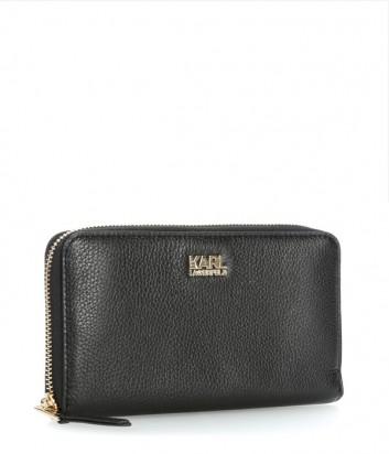Кожаное портмоне Karl Lagerfeld Grainy на молнии черное