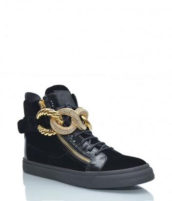 Черные замшевые ботинки Giuseppe Zanotti декорированные золотыми цепями