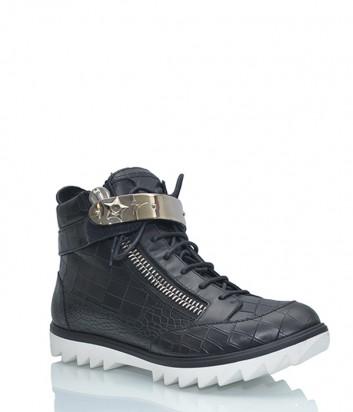 Кожаные ботинки Giuseppe Zanotti с тиснением под крокодила