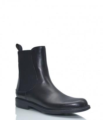 Кожаные ботинки Pollini с эластичными вставками черные