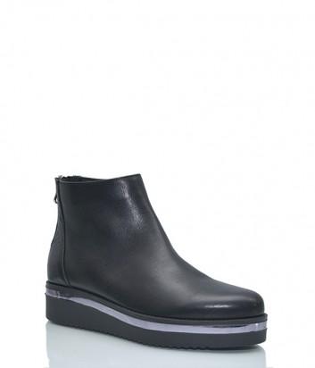 Кожаные ботинки Venezia с молнией на пятке черные