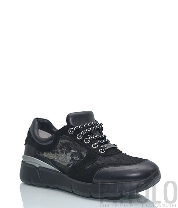 Кожаные кроссовки Nando Muzi с кружевными вставками черные