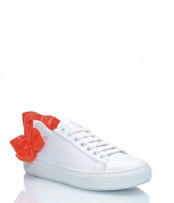 Белые кожаные кеды Pinko с коралловыми воланами на пятке