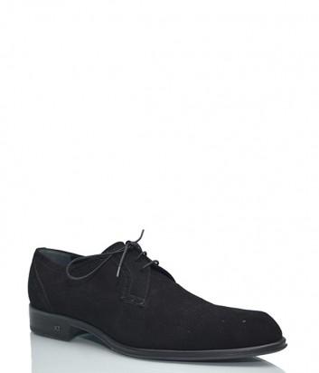Замшевые мужские туфли Iceberg на шнуровке черные