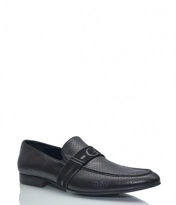 Кожаные туфли-лоферы Giovanni Ciccioli с перфорацией черные