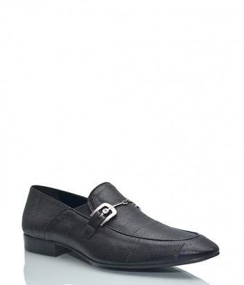 Кожаные туфли-лоферы Giovanni Ciccioli с текстурой черные