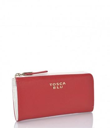 Кожаное портмоне Tosca Blu на молнии красно-белое