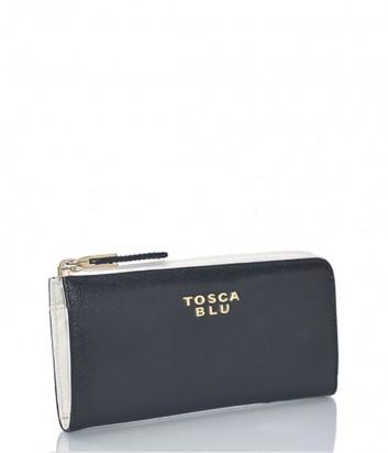 Кожаное портмоне Tosca Blu на молнии черно-белое