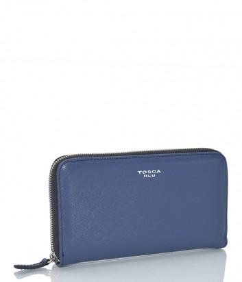 Женское портмоне Tosca Blu на молнии из кожи сафьяно синее