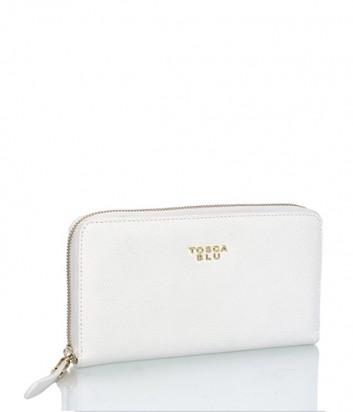 Женское портмоне Tosca Blu на молнии из зернистой кожи белое