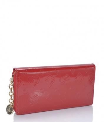 Кожаное портмоне Tosca Blu с тиснением на молнии красное