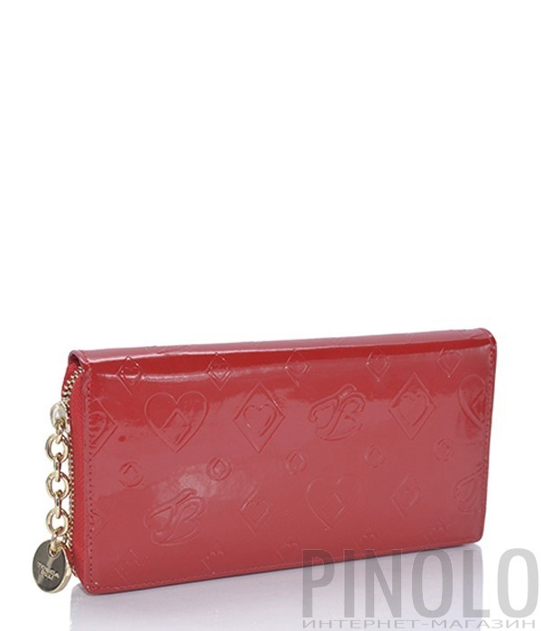 e9b6e3051924 Кожаное портмоне Tosca Blu с тиснением на молнии красное - купить в ...