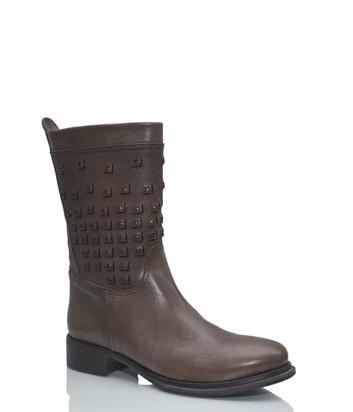 Женские кожаные ботинки Walter Pinto с заклепками коричневые