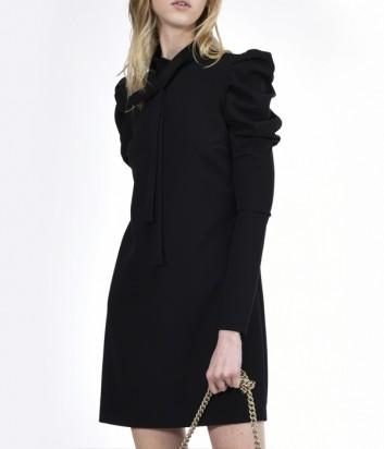 Платье с длинным рукавом PINKO и воланами на плечах черное