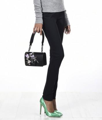 Укороченные эластичные брюки PINKO с боковыми молниями черные