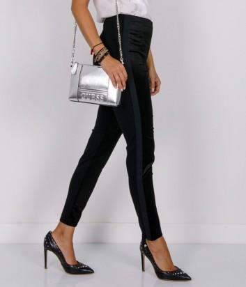 Черные эластичные брюки PINKO с боковыми серыми полосками