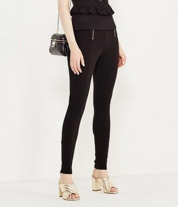 Черные эластичные брюки PINKO с двумя вертикальными молниями