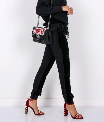 Велюровые брюки PINKO с боковыми рюшами черные