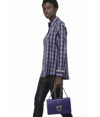 Рубашка в клетку PINKO с бусинками на рукавах фиолетовая